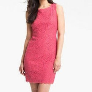 Adrianna Papell Boatneck Pink Lace Sheath Dress